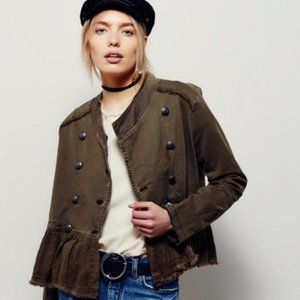 FREE PEOPLE Army Green Ruffled Military Jacket XS